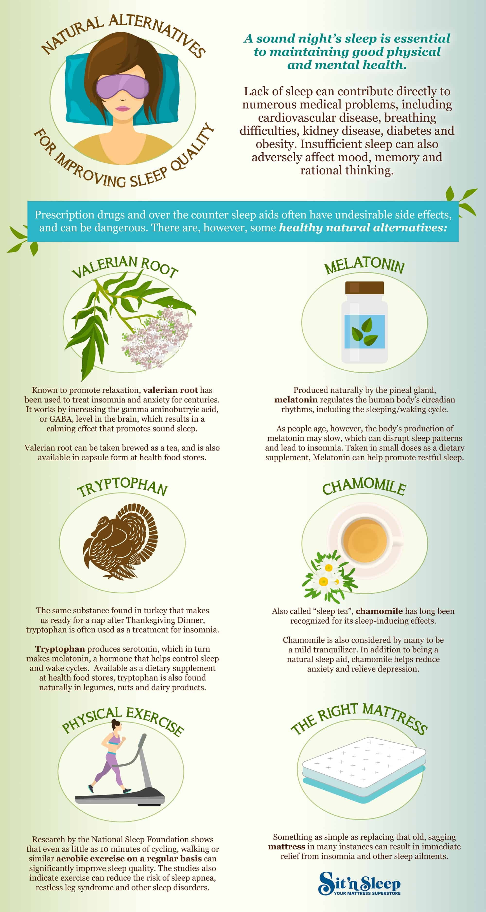 Sit n Sleep Infographic - Natural Alternatives for Sleep Quality